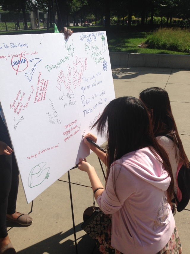 Art history students express their creativity on DePaul's Free Speech Wall at Millennium Park. (photo/Stephanie Wade)