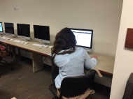 Student Diamaris Martino works on her LinkedIn page.